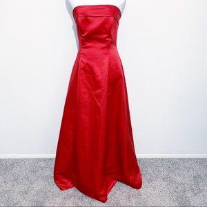 Urban Girl Nites Red Satin Strapless Gown Dress